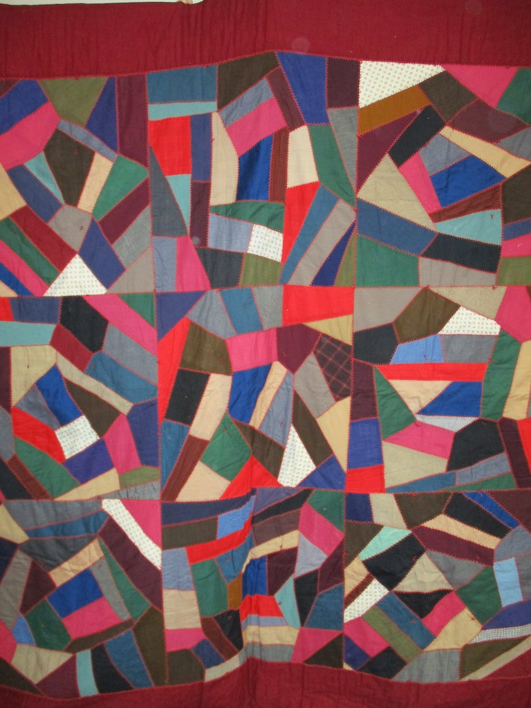 160, VINTAGE CRAZY QUILT, 86x86, Donated by A friend of MCC