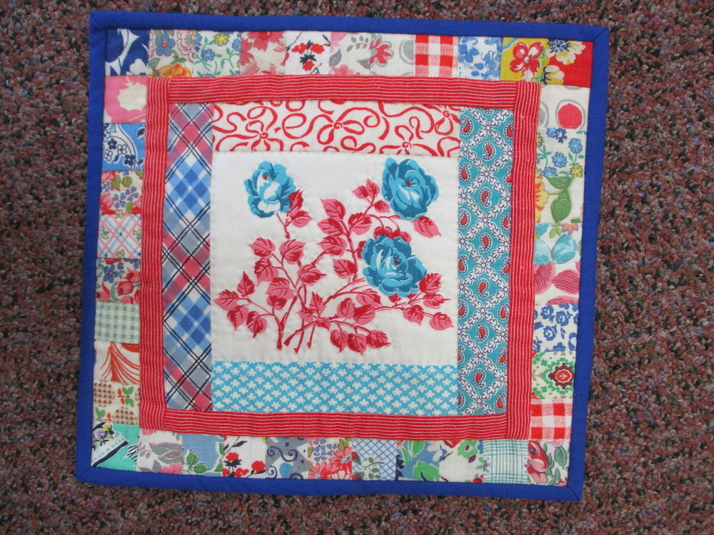 158, VINTAGE FEEDBAG ROSES (signed and dated), 10x10, Pieced, Quilted and Donated by Janet Runion Patton