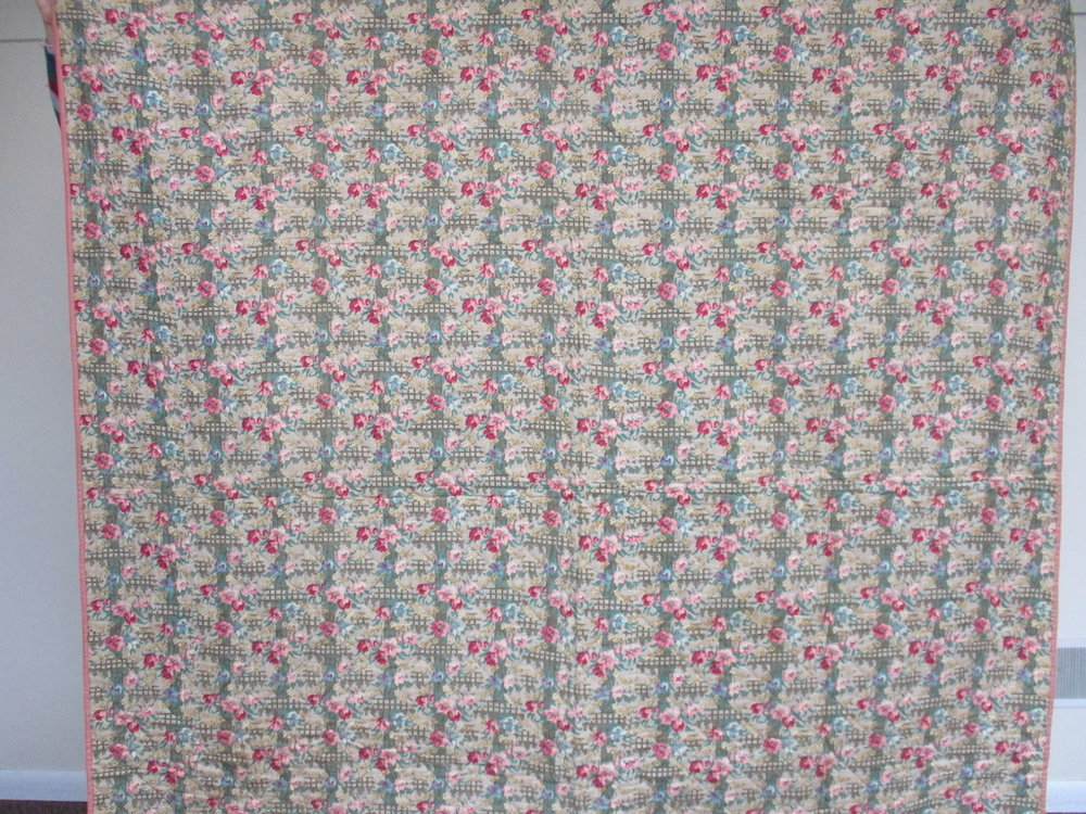 163, VINTAGE COMFORTER IN LONG STITCH, 80x80, Donated by Esther McCoy