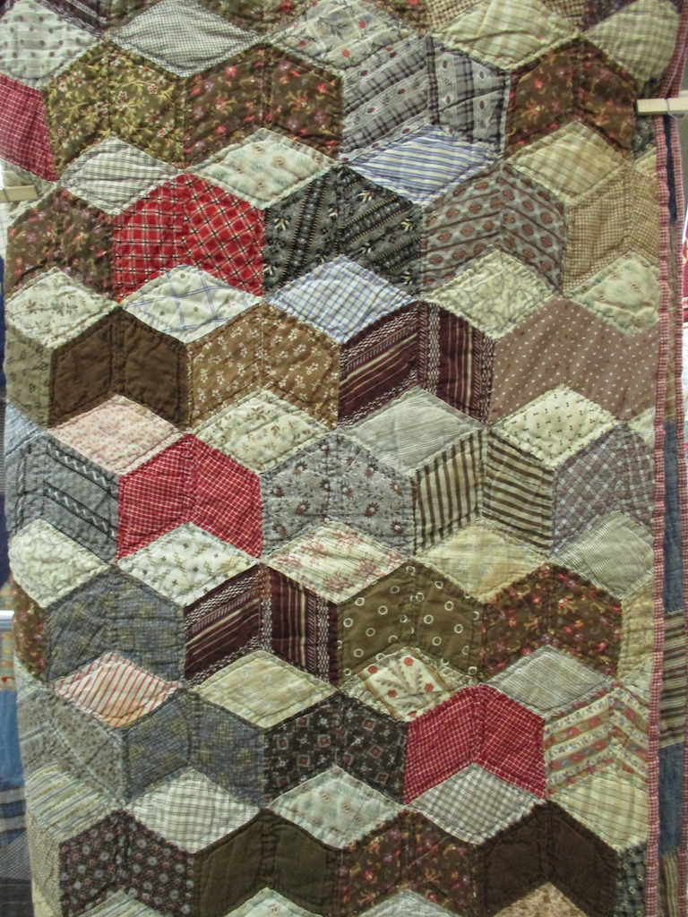 162, VINTAGE TUMBLING BLOCK, 63x76, Donated by Juanita Fix