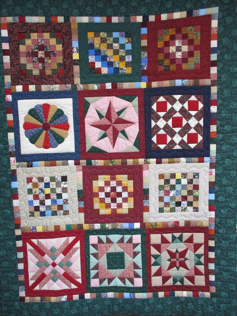 175, RAINBOW OF BLOCKS, 61x81, Pieced by Janet Runion Patton and Alma Wenger, Quilted and Donated by Erisman's Sewing Circle