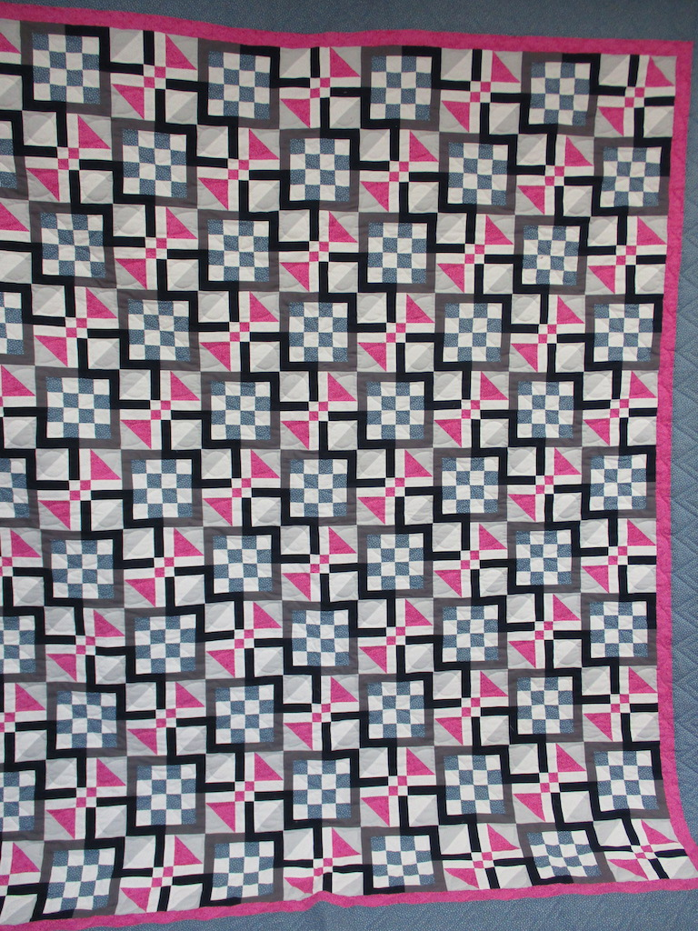 181, RASPBERRY ROSE (signed and dated), 86x101, Pieced, Quilted and Donated by June Miller