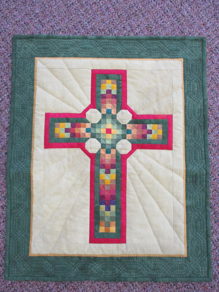 193, CELTIC CROSS (signed and dated), 19x23, Pieced, Quilted and Donated by Ellen Ressler