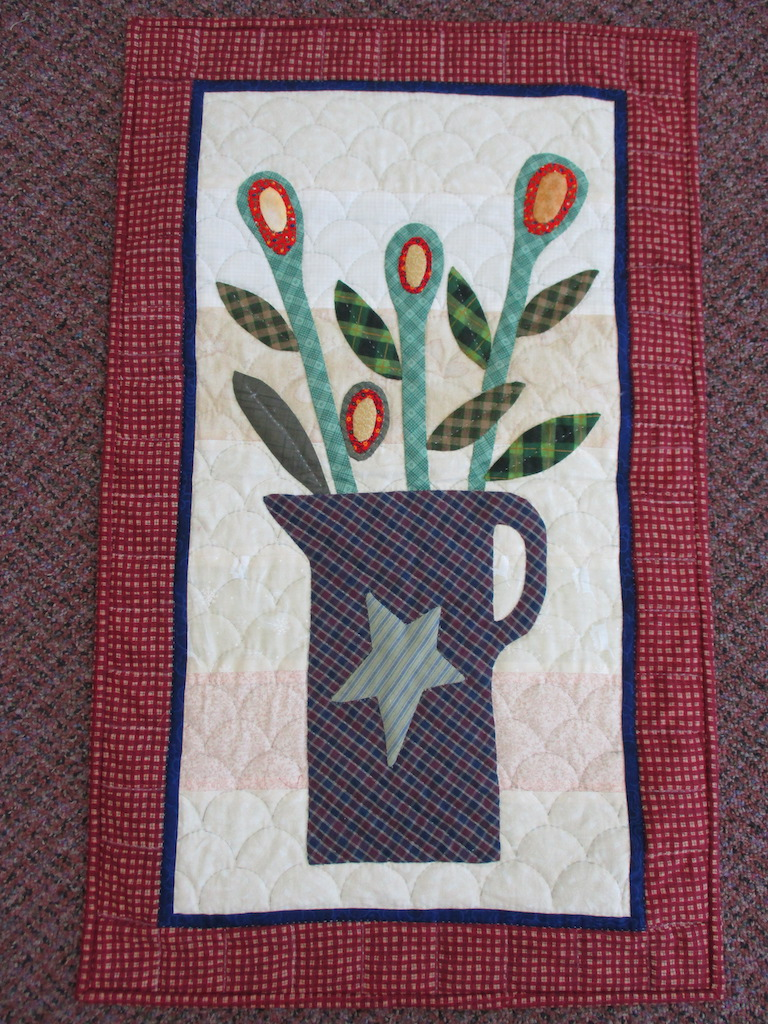 196, DUTCH FLOWERS, 18x30, Apppliqued by Helena Dueck, Quilted by MCC Volunteers