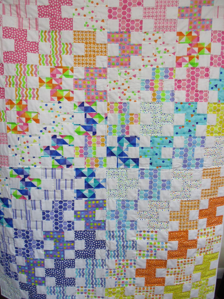 208, BABY BRICKS, 46x60, Pieced and Donated by Eileen Wenger, Quilted by MCC Volunteers