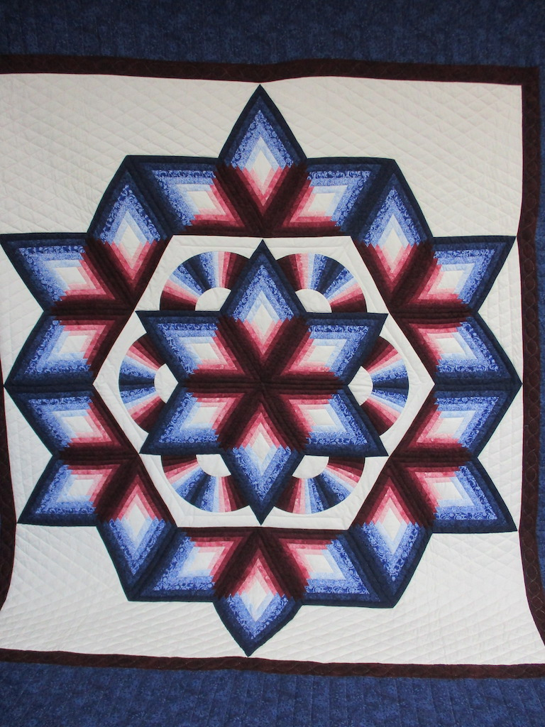 229, CHRYSALIS STAR, 100x110, Donated and Quilted by Hammer Creek Mennonite Sewing Circle
