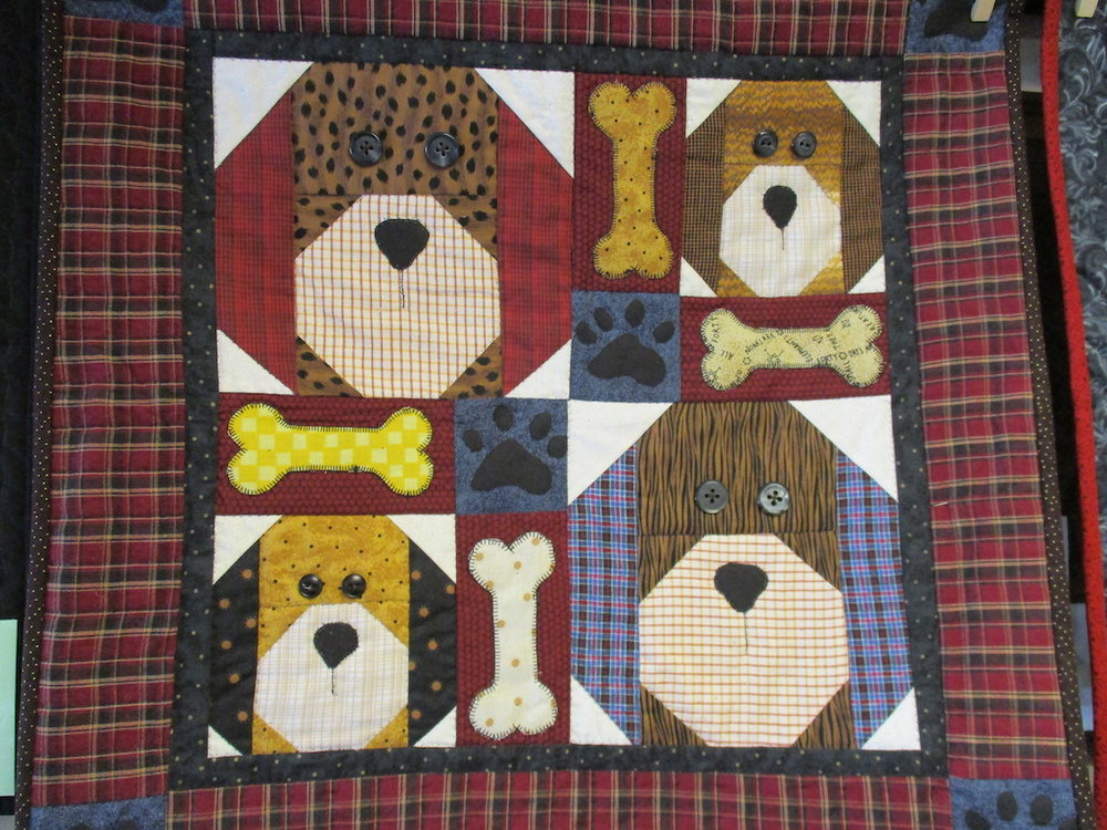 240, SAD PUPPIES (signed and dated), 21x21, Pieced by Fran Fitz Kennedy, Quilted by Marie Eby