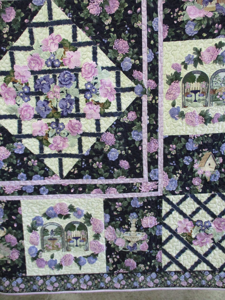 245, SECRET GARDEN (machine quilted, signed and dated), 66x67, Pieced and Machine quilted by Eloise Lawrence