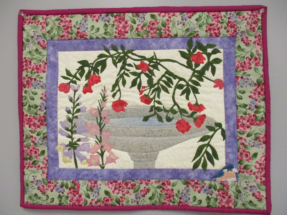 260, BIRD BATH (machine quilted, signed and dated), 18x22, Donated by a friend of Cumberland Valley Relief Center