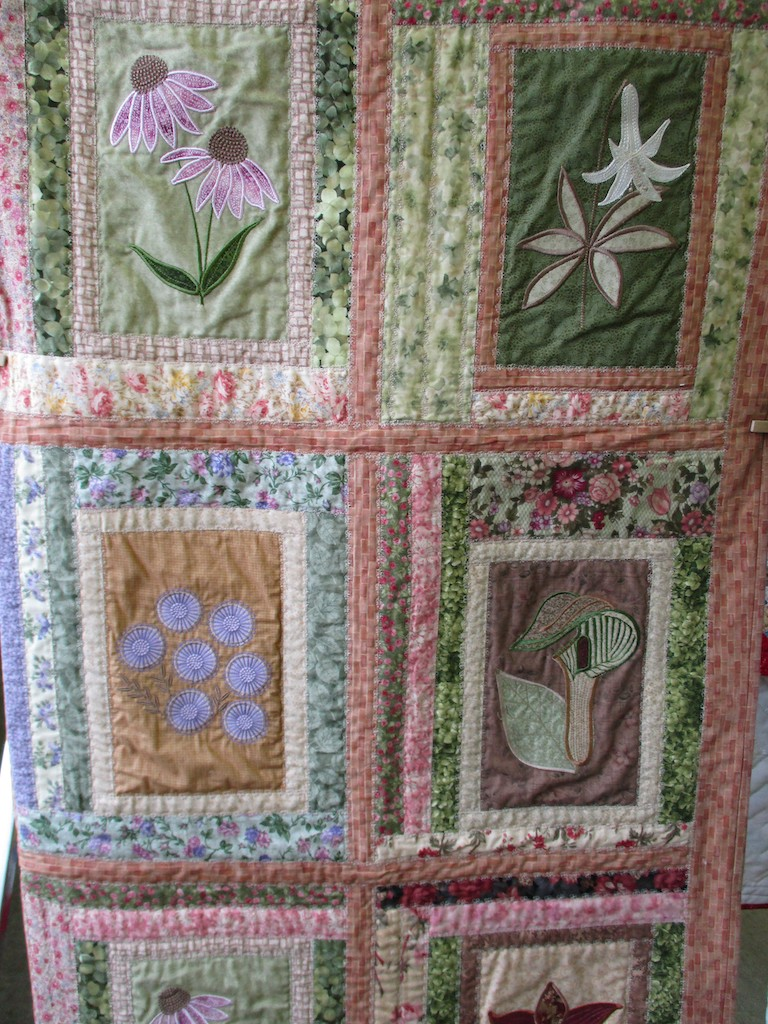 265, FLOWER GARDEN (machine quilted, signed and dated), 57x65, Pieced and Machine quilted by Eloise Lawrence