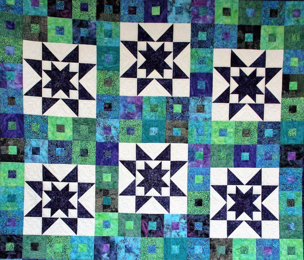 267, PURPLE DAZE, 92x110, Pieced by Mae Stoltzfus, Quilted and Donated by Landisville Mennonite Women