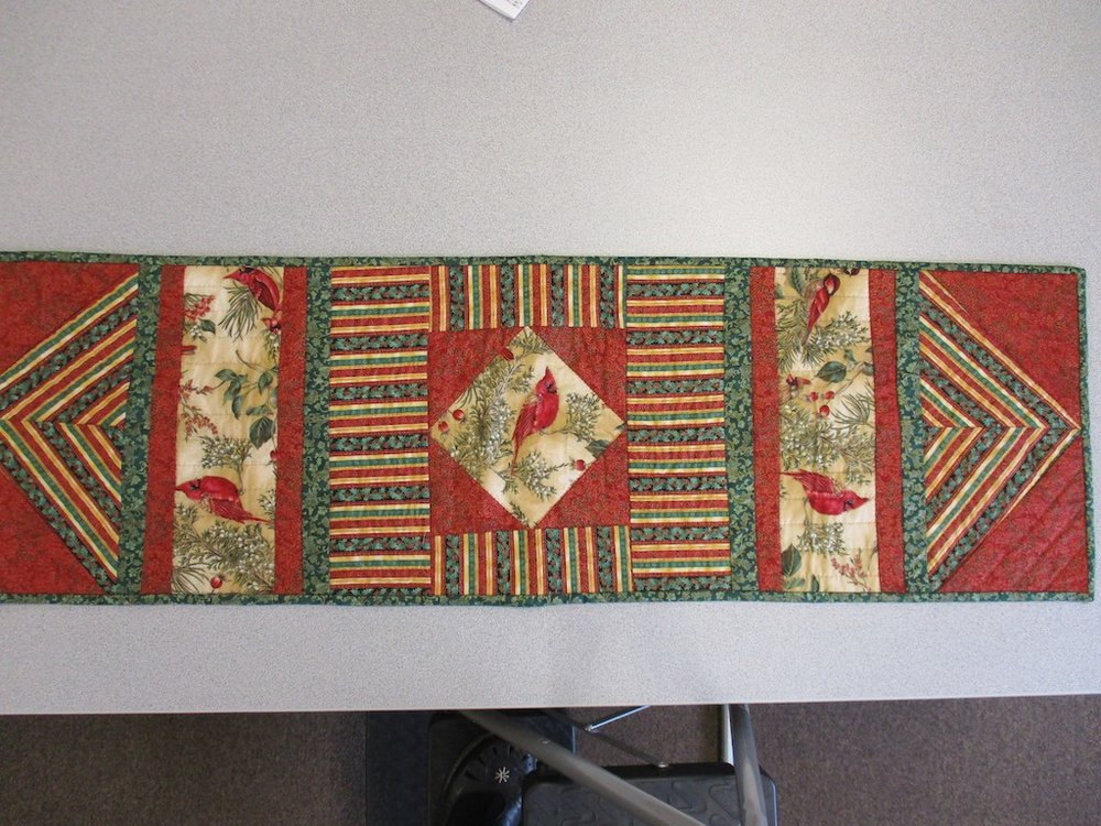 271, SIMPLY BEAUTIFUL (signed and dated), 14x46, Pieced by Dorothy Crider, Quilted by Marie Eby