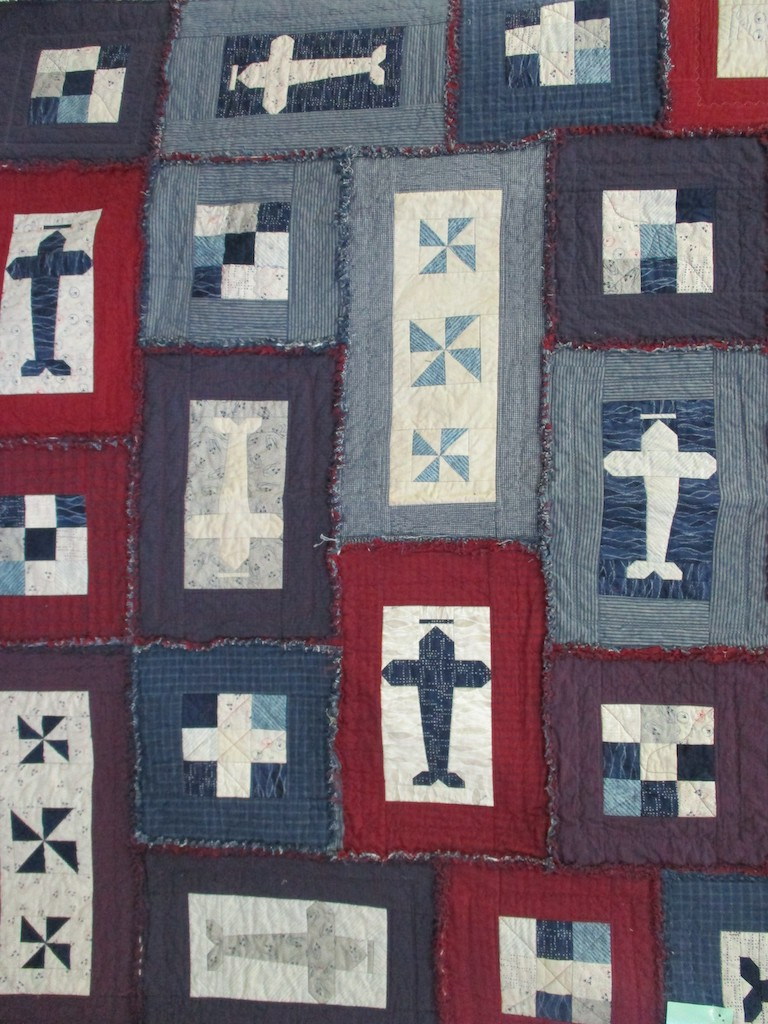 275, AIRPLANES (machine quilted, signed and dated), 62x70, Pieced and Machine quilted by Karen Manderson