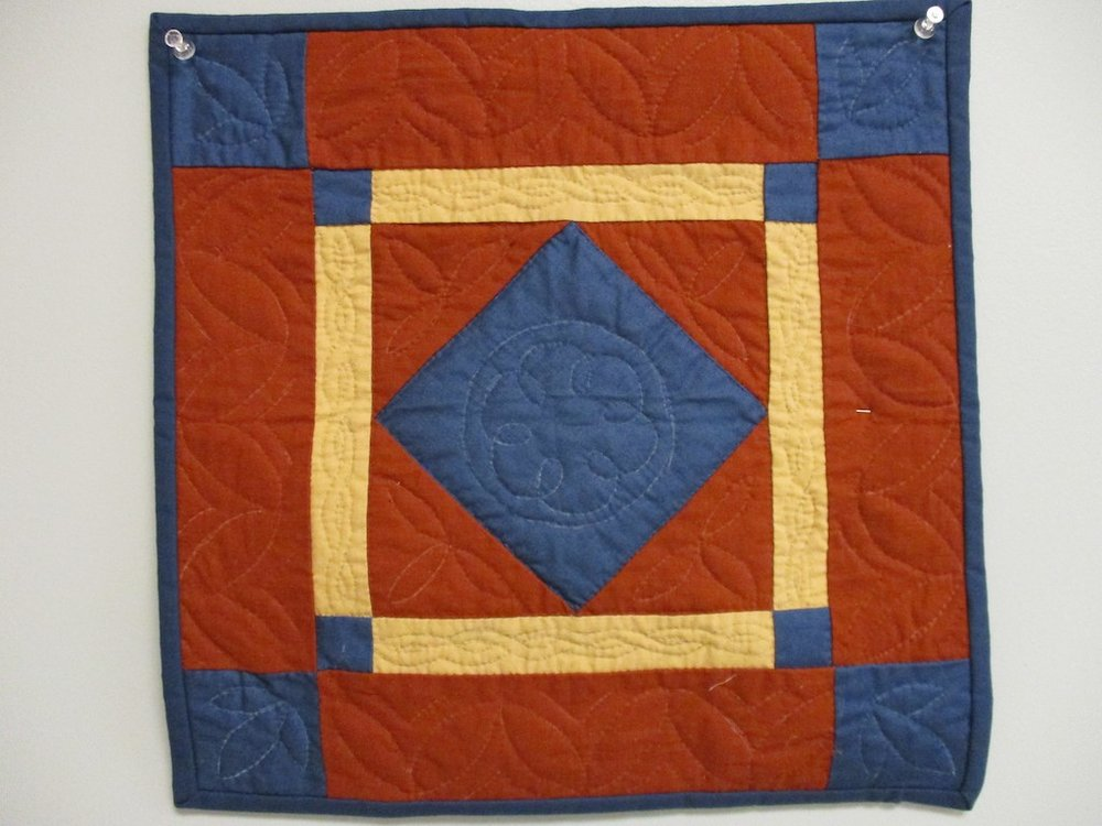 290, CENTER DIAMOND (signed and dated), 14x14, Quilted by Fannie Frey