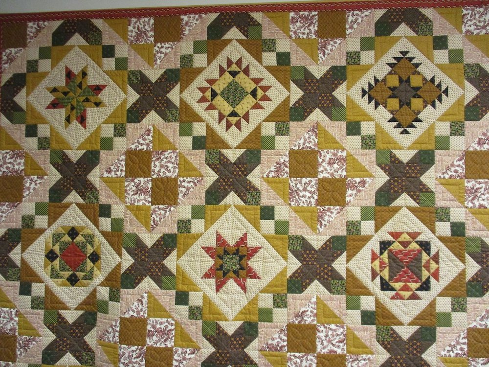 300, SAMPLER (signed and dated), 100x100, Pieced by Brenda Eby, Quilted by Cedar Grove Mennonite Church Sewing Circle