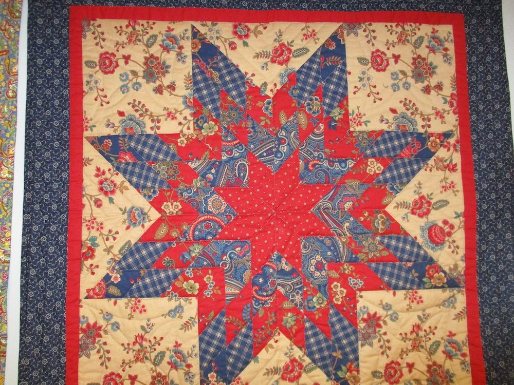 299, LONE STAR PREPRINT (signed and dated), 38x38, Pieced and Quilted by Janet Crider