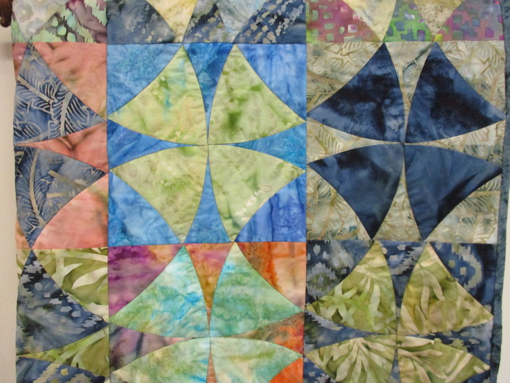 302, BATIK BLUES (machine quilted, signed and dated), 39x48, Pieced and Machine quilted by Jackie Adema