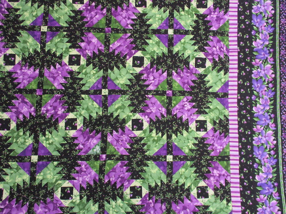 313, WILD ORCHID (signed and dated), 80x92, Pieced by Linda Sabin, Susan Jacobsen, Mary Previte, Quilted by The Cumberland Valley Relief Center