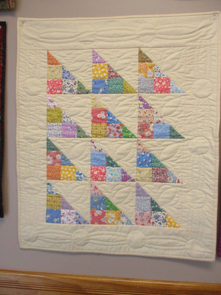 314, APRIL SHOWERS (signed and dated), 26x32, Pieced and Quilted by Susie DeVos