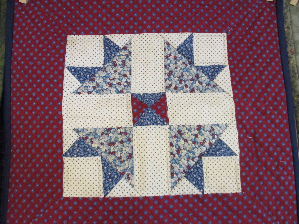 323, BLUE FLOWERS (signed and dated), 16x16, Quilted by Fannie Frey, Donated by The Cumberland Valley Relief Center