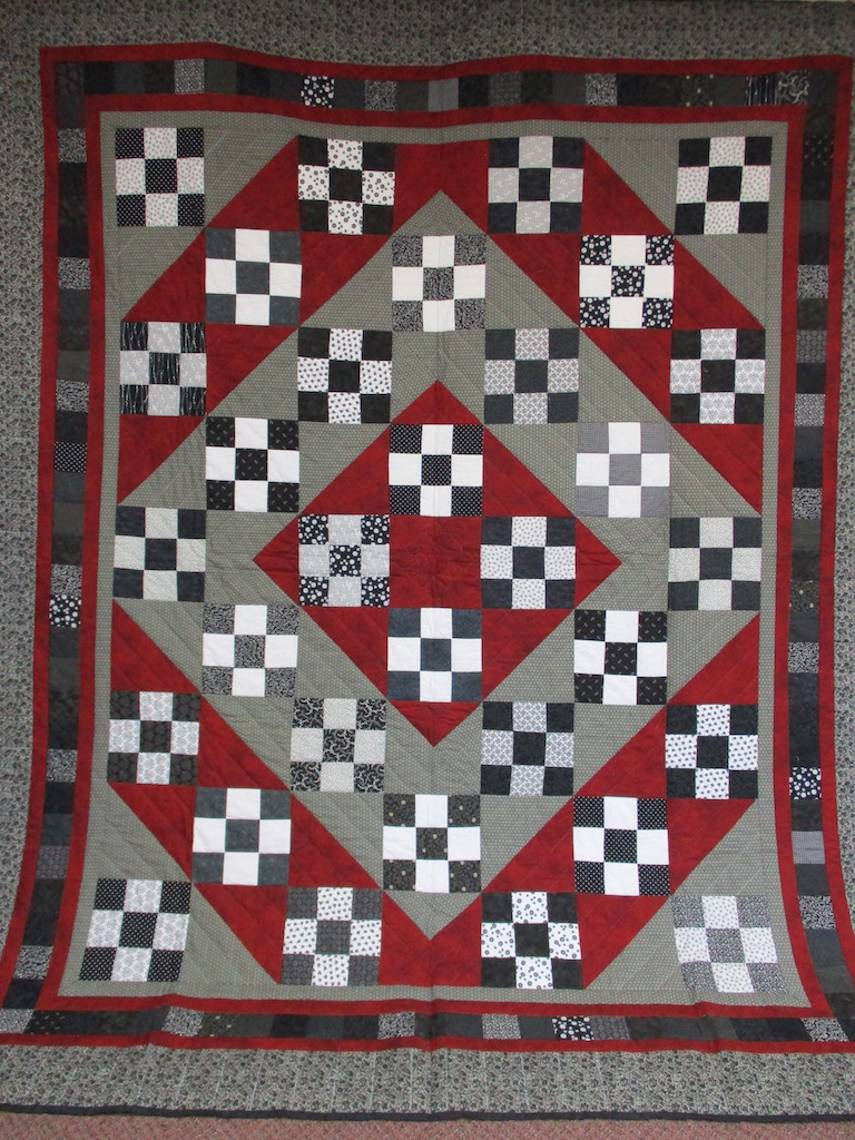 338, DIAMOND NINE PATCH (SMALL SPOT ON BACK), 91x107, Pieced by Jewell Shivery, Donated and Quilted by Maple Grove Sewing Circle