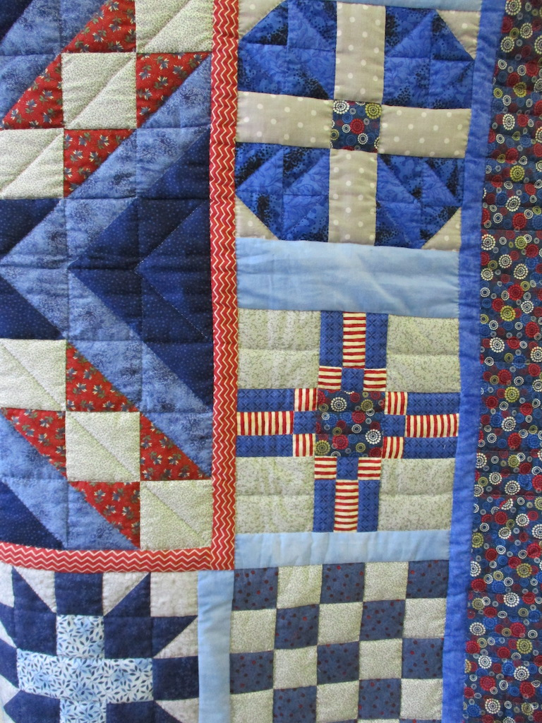 342, PATRIOTIC SAMPLER (signed and dated), 56x56, Pieced by Ann Grapes, Quilted by Nancy Cordell