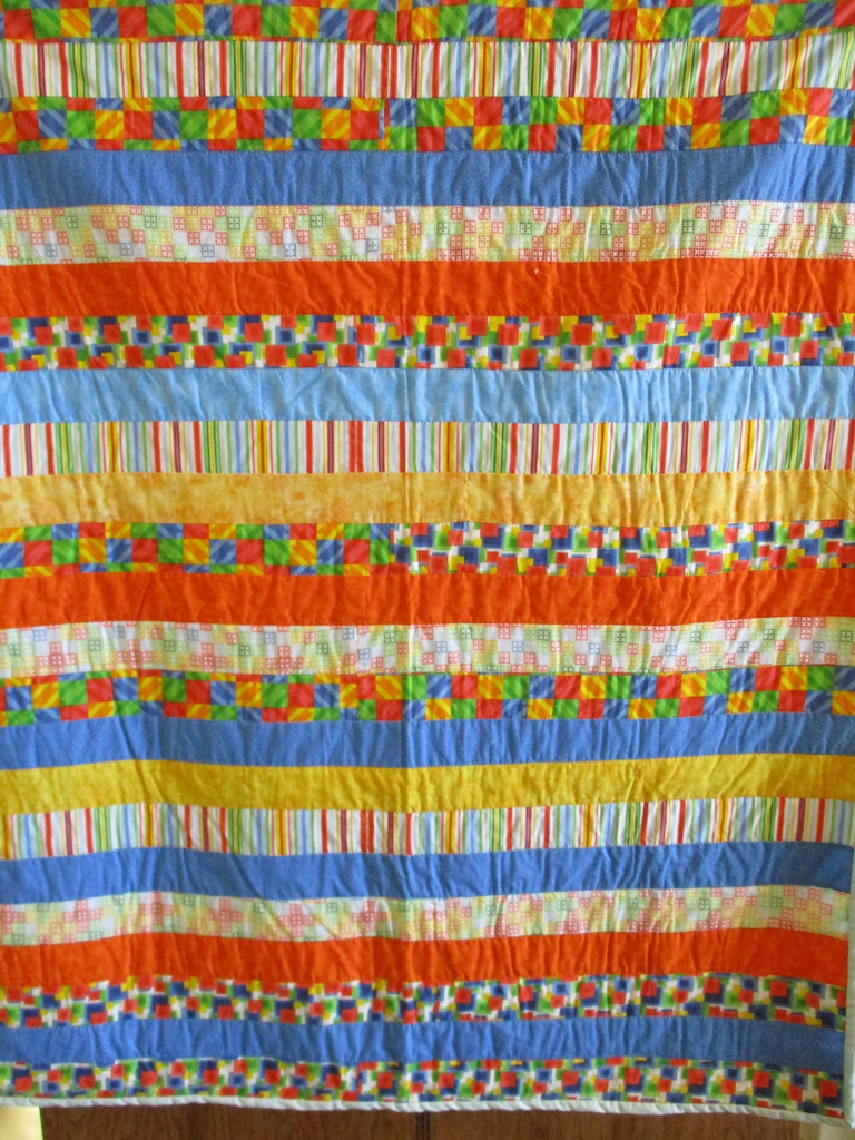 347, BARS (some imperfections on the back, signed and dated), 38x44, Pieced by Doris Yoder, Quilted by Sue Ann Sarvis