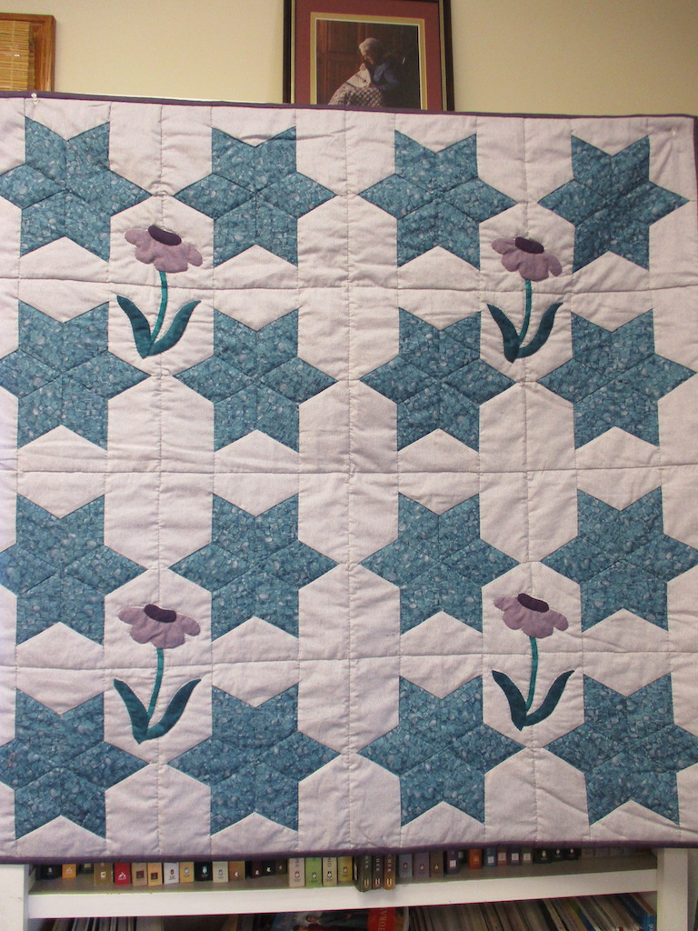 349, SIX-POINTED STAR (signed and dated), 44x44, Pieced by Carol Richardson, Quilted by Marie Eby