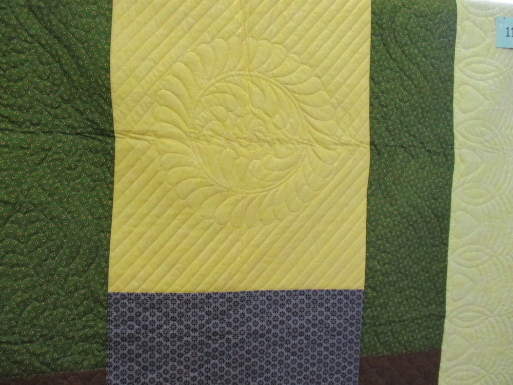 355, BOLD STATEMENT (signed and dated), 64x72, Pieced by Susie DeVos, Quilted by The Cumberland Valley Relief Center