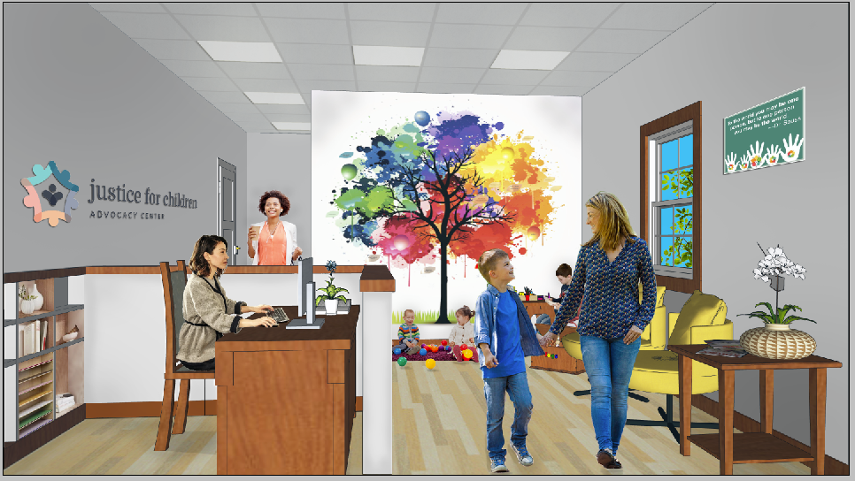 Artist rendering of the waiting room of the Justice for Children Advocacy Center after renovation.