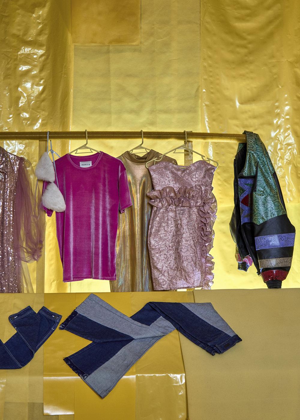 En sentido del reloj: Vestido lentejuelas de Gregorio Cayetano, bikini, tshirt y vestido tornasol de Maison Manila, vestido rosa de Pink Magnolia, chaqueta de cuero de Paloma Lira, jeans de Piso Uno.