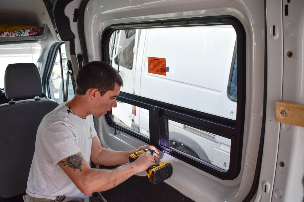 Transit Camper Van Window Installation