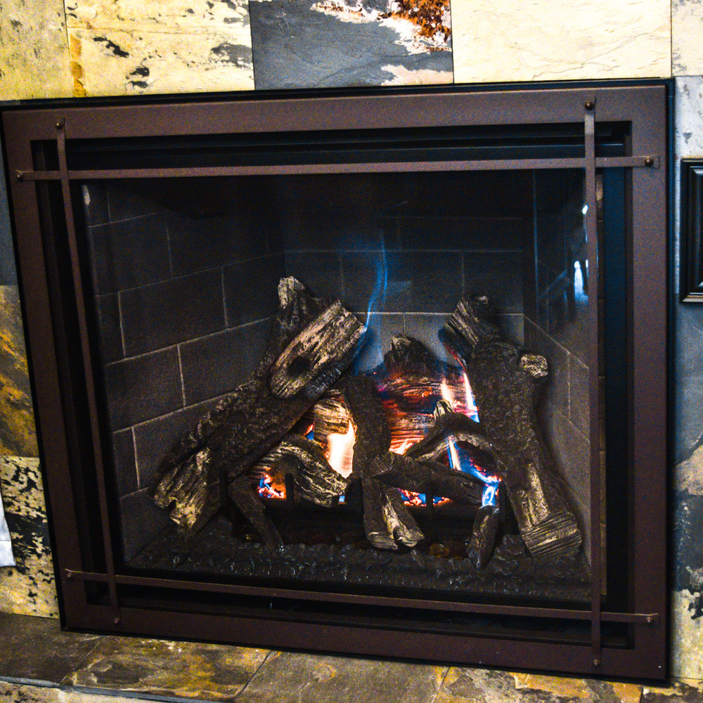 Kozy Heat Carlton 39 - ‧ Direct Vent Gas Fireplace - 40,000 BTU‧ Masonry Firebox Panels‧ Prairie Front - Rust‧ Premium Fiber Logs‧ Proflame2 Full Function Remote Control‧ Fan‧ Value Line‧ Strong heater‧ Also available in larger size