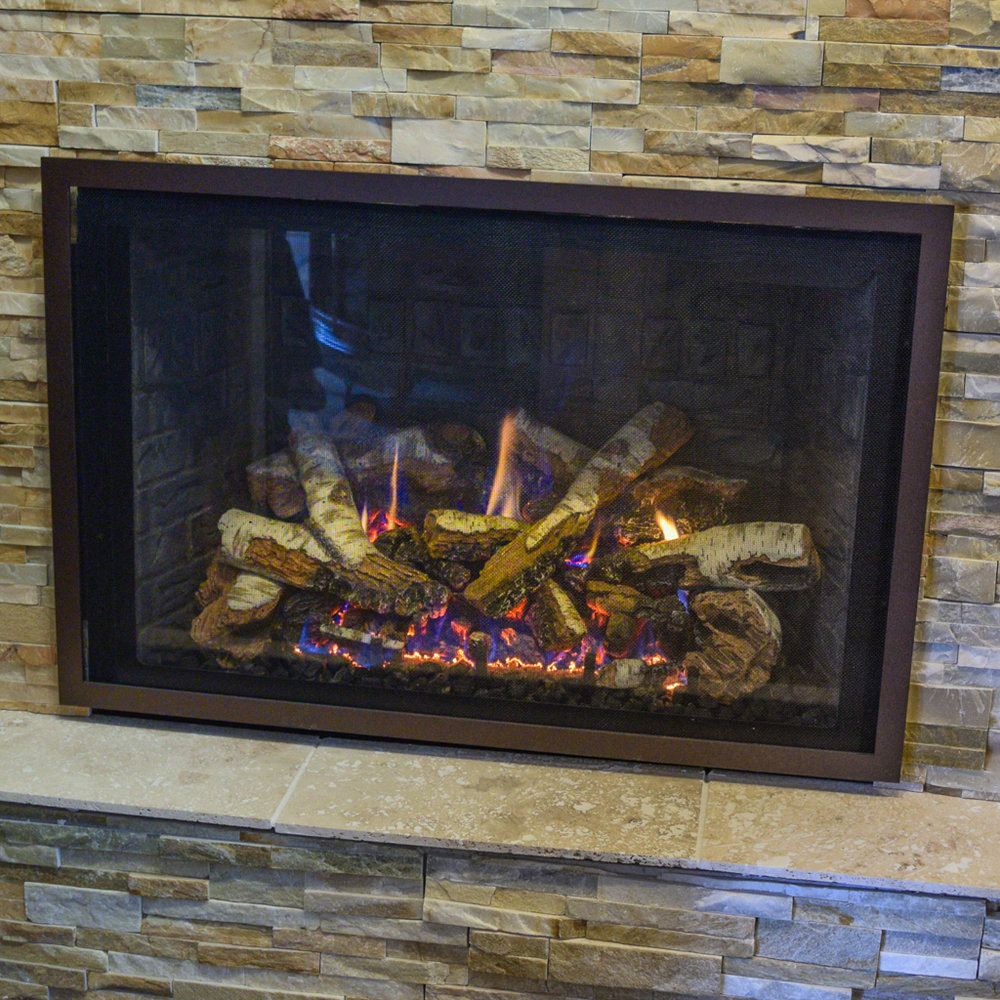 Mendota FV-36 - ‧ Direct Vent Gas Fireplace - 40,000 BTU‧ Slate Gray Solider Course Firebox Panels‧ Solo Grace Front – Oil Rubbed Bronze‧ Birch Logs‧ ProFlame2 Full Function Remote Control‧ Fan‧ Superior quality‧ Traditionally oriented Fullview firebox‧ Large selection of Fronts – Colors