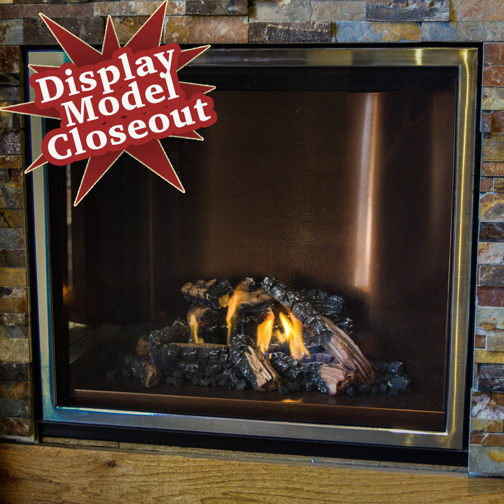 Mendota FV-41 Decor - ‧ Direct Vent Gas Fireplace - 40,000 BTU‧ Panoramic Copper Porcelain Reflective Firebox Liner‧ Traditions Front – Swedish Nickel‧ Norway Spruce Logs‧ Proflame2 Full Function Remote Control‧ Fan‧ Square-ish face- front‧ Excellent heater‧ Large selection of Fronts – Colors