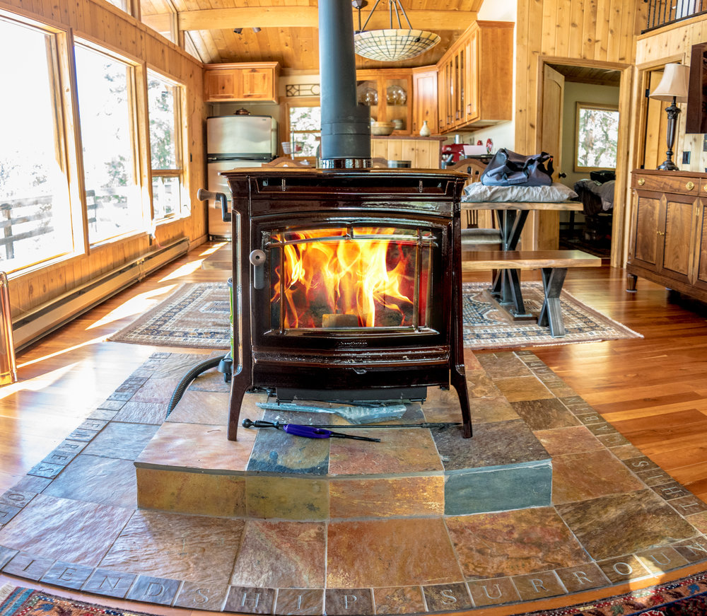 wood-burning stoves  Stoves are free-standing appliances on legs or pedestals. Stoves are both efficient and offer a variety of finishes. They are great for heating cold basements!