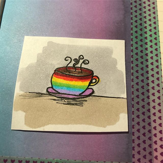 OH MY GOD @nella_theoffice_mom is making pins for our #Enforcer team for #PaxSouth and I suggested a rainbow coffee cup AND ITS SO PERFECT. I LOVE IT SO MUCH. I want twelve. (And also she made matching bi/pan ones for me and the bf 🥰) I'm so excited for my first convention of the year next week!! #pins #homemadepins #buttonpress #button #buttons #pin #coffee #art #handdrawn #definitelynotbymethough #lgbt #lgbtq#bi #pan #pax #e