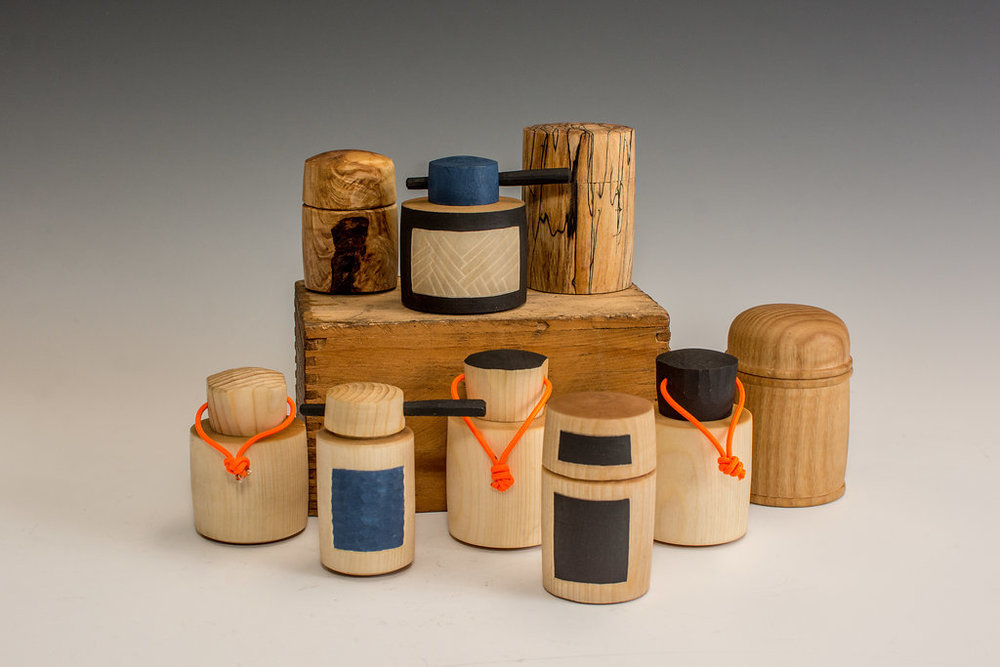 Assorted wooden containers, 2018. Photo by Jess Smith.