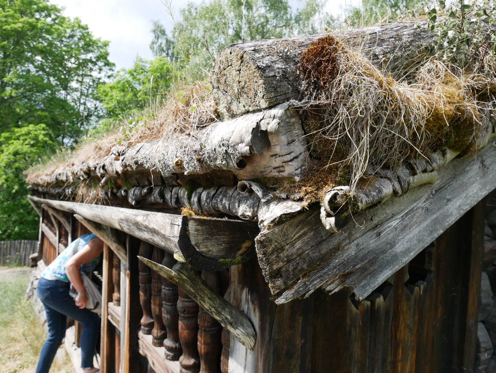 Close up of a medieval-era birch bark roof on a farmhouse.