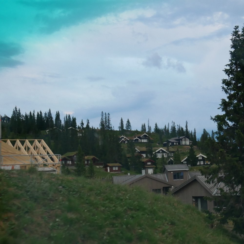 One of many new  hytte  developments on the mountainside.