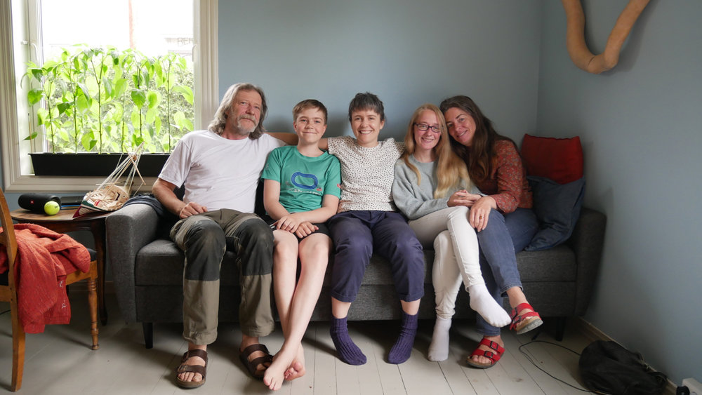 Erlend, Mikael, me, Ylva, and Lotte at their home.