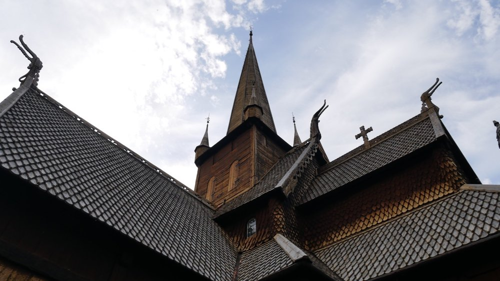 Wild roof line. Lom Stave Church.