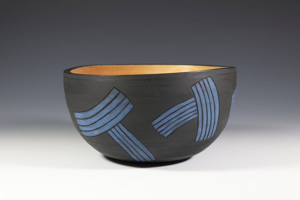 "Birch bowl with milk paint, 2017. 10"" diameter"