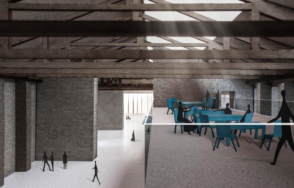 wine bar right underneath the original wooden roof structure, Grando