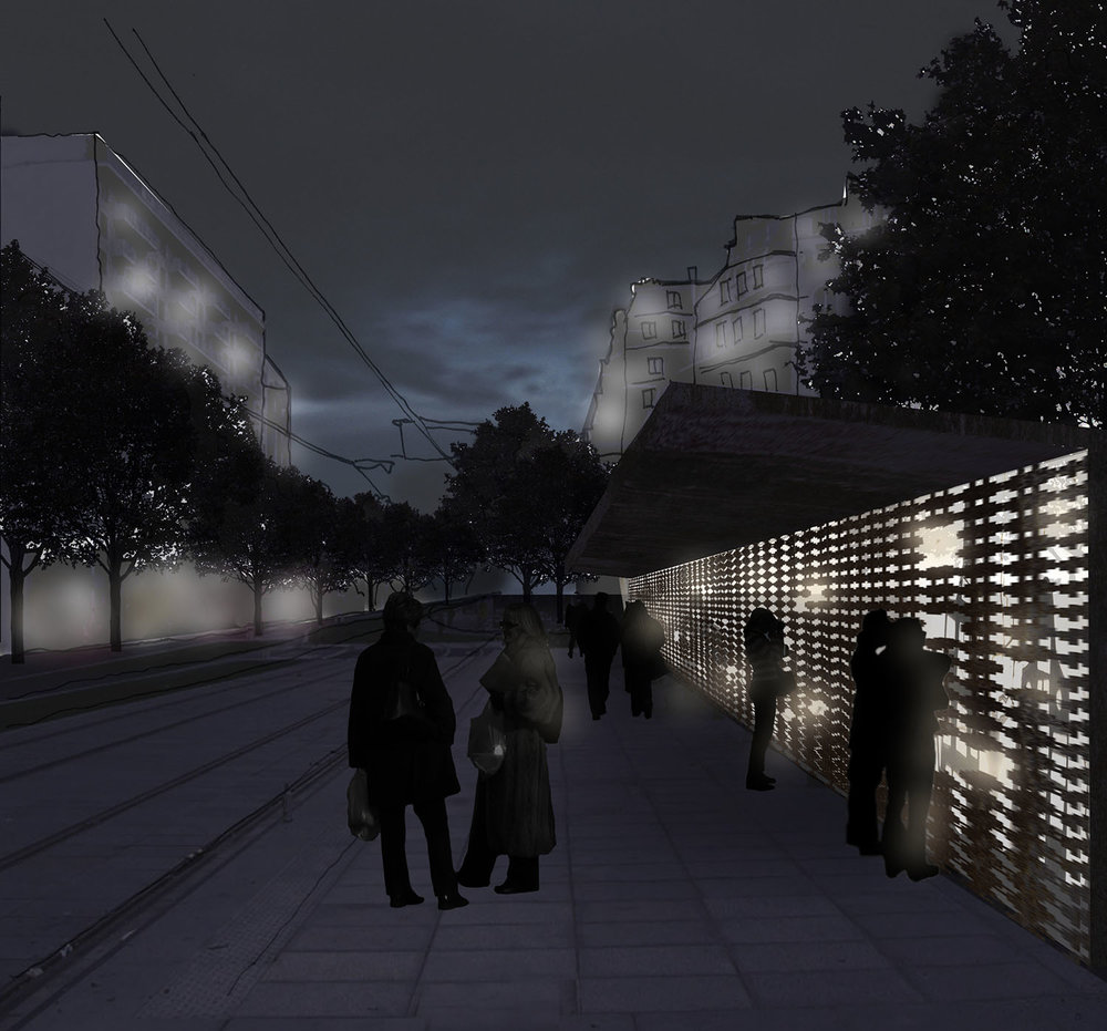 people interacting with the light installation while waiting for the tram