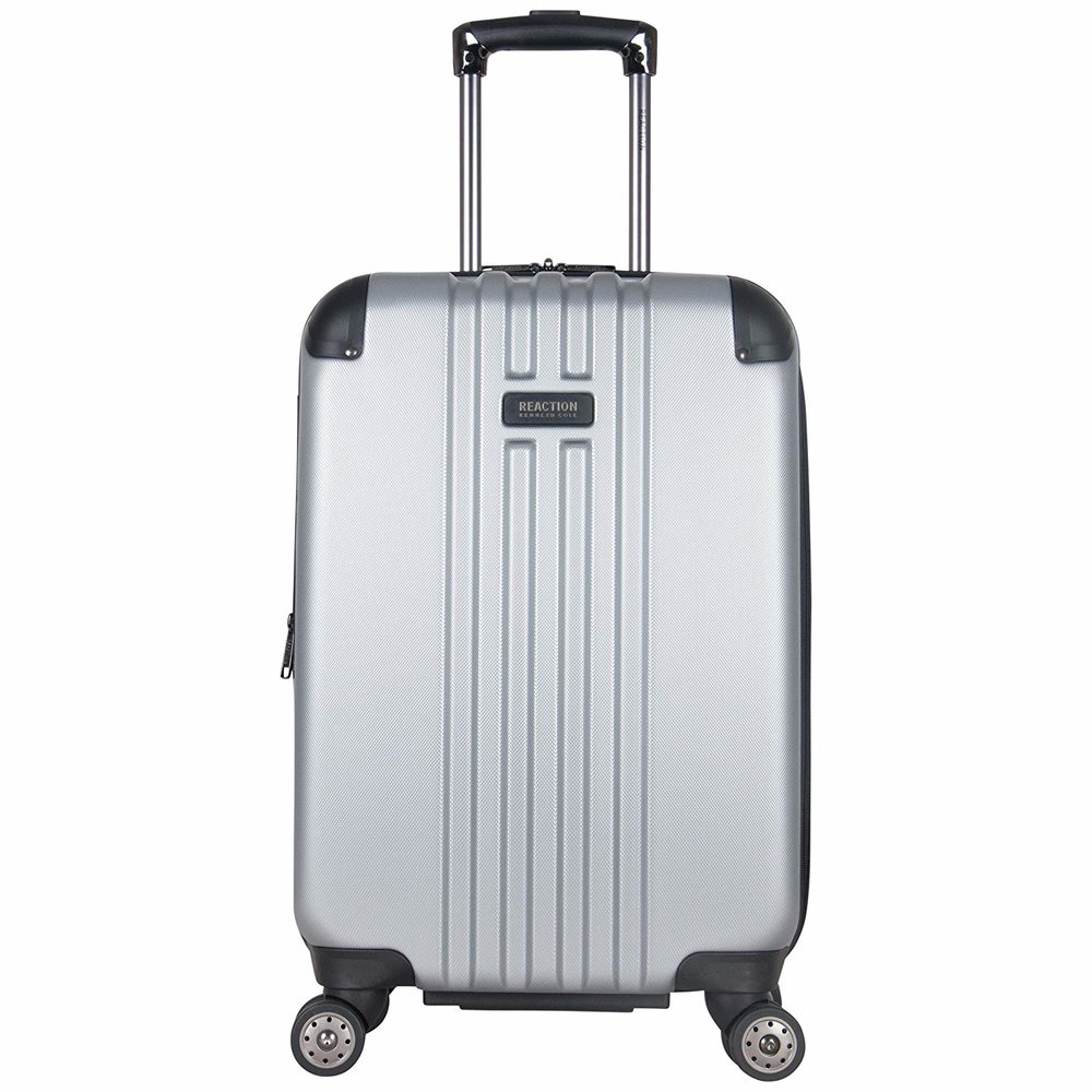 "Kenneth Cole Reaction Reverb 20"" Hardside Expandable 8-Wheel Spinner Carry-on Luggage, Light Silver"