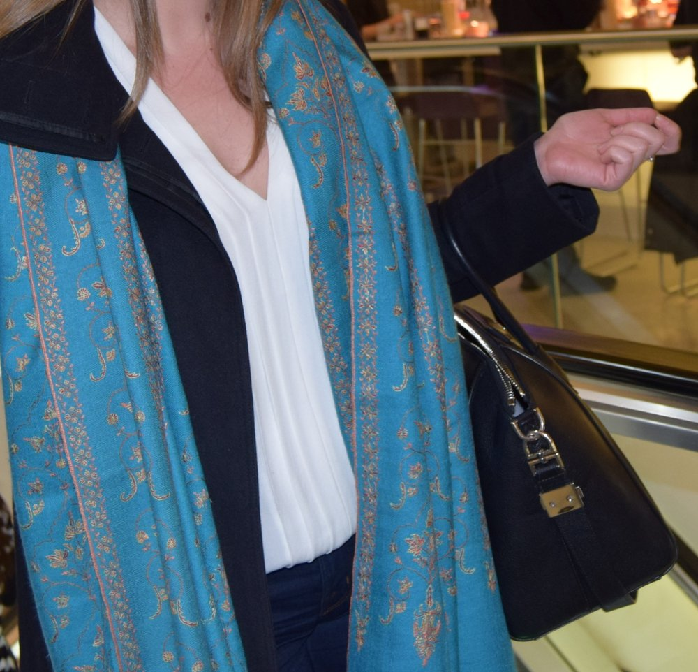 Sky blue Pashmina hand-embroidered across the length and width of the whole shawl