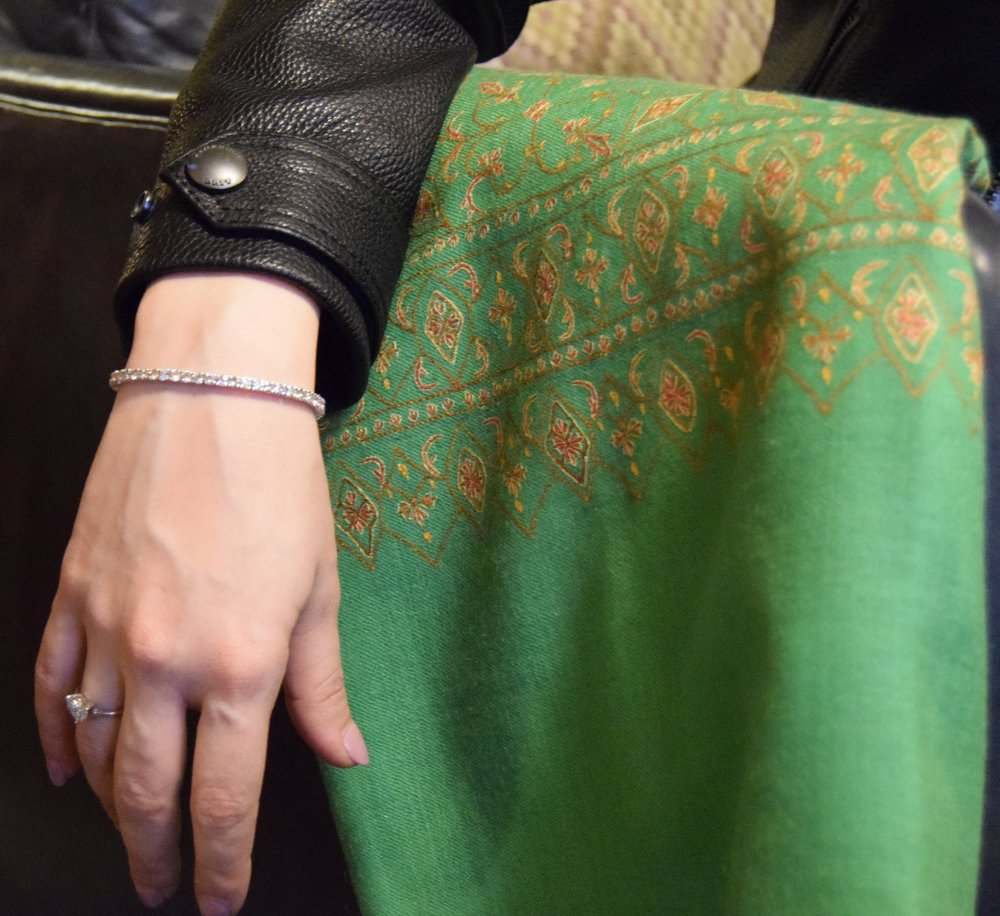 Matcha green Pashmina hand-embroidered across the entire shawl; paired with Burberry Brit.