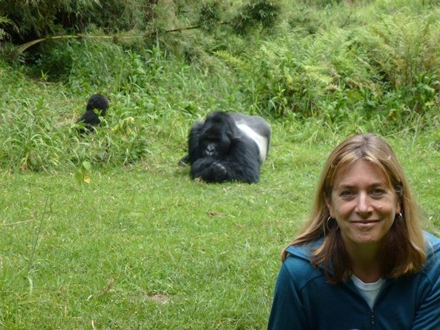 Kirsten Gilardi with silverback gorilla. Photo by Sandy Buckley.
