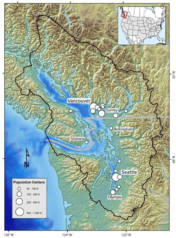 The Puget Sound Basin is only one half of a 17,000 sq. km. ecosystem, the Salish Sea. Efforts to restore Puget Sound or the Georgia Basin will fail the U.S. and Canada do not improve cross-border collaboration. Map: N. Maher